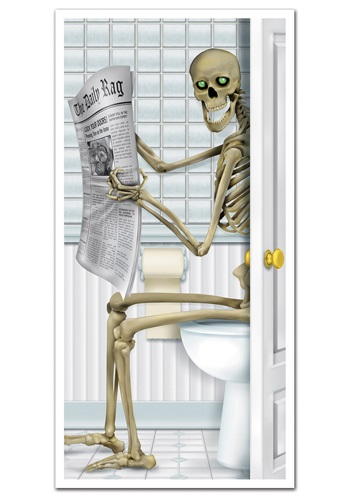 Funny Skeleton Bathroom Door Cover