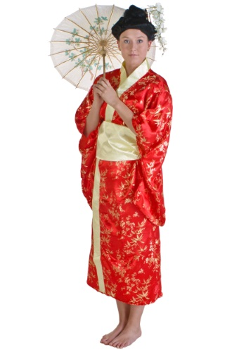 Womens Red Japanese Kimono Dress