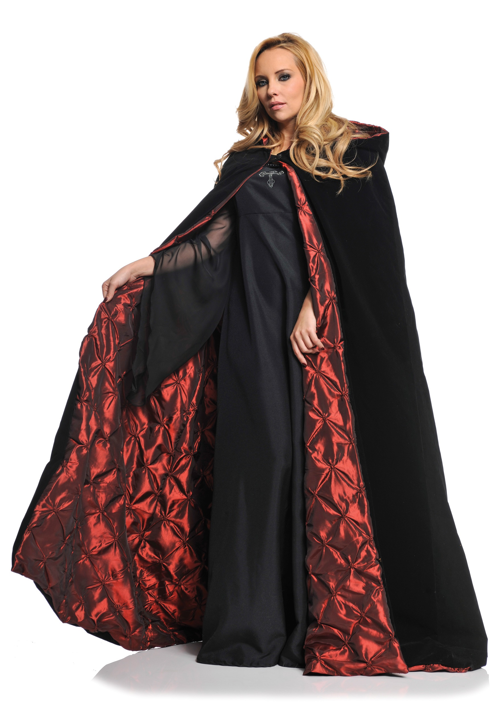 Ladies Deluxe Velvet Cape W Quilted Red Lining Devil