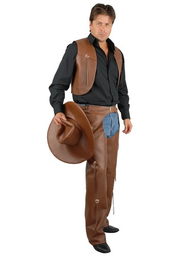 Adult Brown Rodeo Chaps and Vest