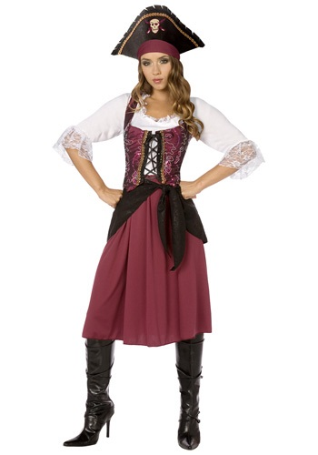 Womens Burgundy Pirate Wench Costume