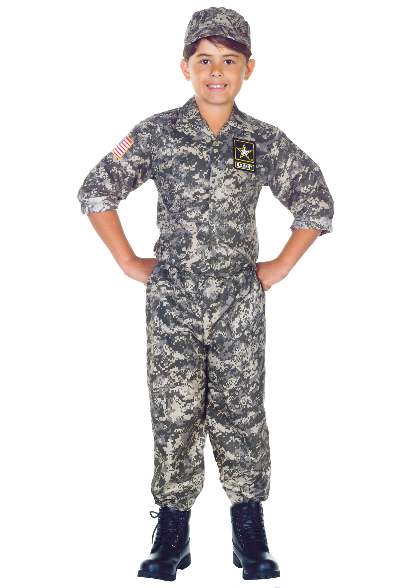 Kids U.S. Army Camo Costume - Boys' Military Uniform Costumes