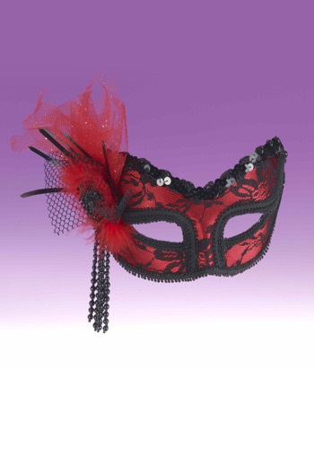 Red And Black Lace Half Mask