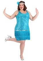 Plus Size Turquoise Sequin & Fringe Flapper Dress