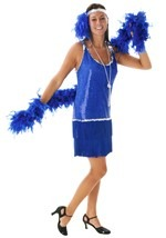 Plus Size Blue Sequin & Fringe Flapper Dress