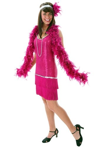 Plus Size Fuchsia Sequin & Fringe Flapper Dress