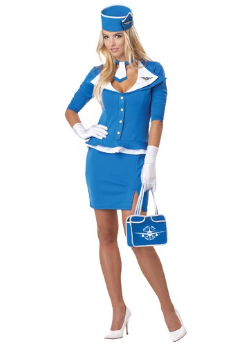 Retro Sexy Blue Stewardess Costume