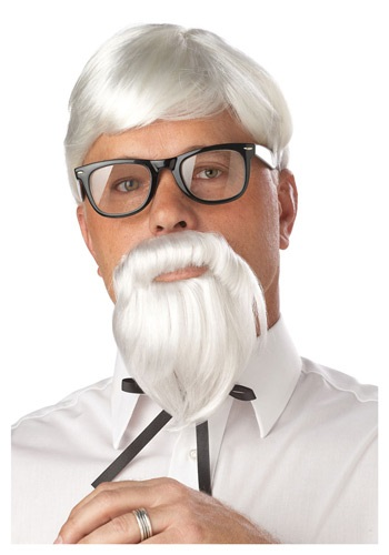 White Colonel Moustache & Wig