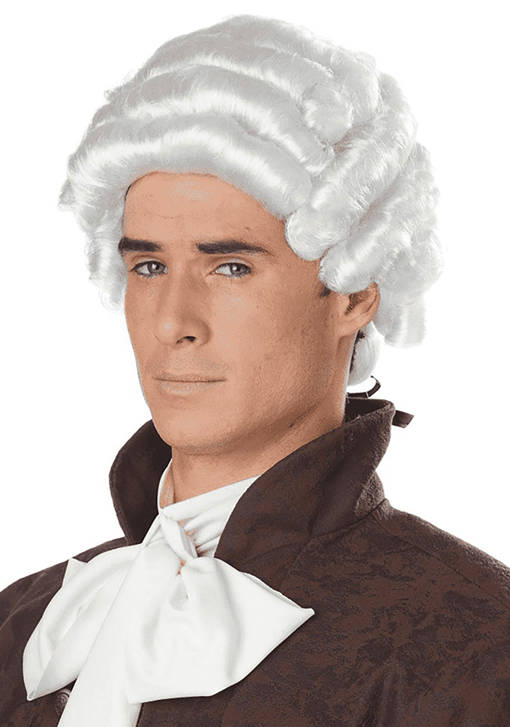 Mens Colonial White Wig Historical Colonial Costume Wigs