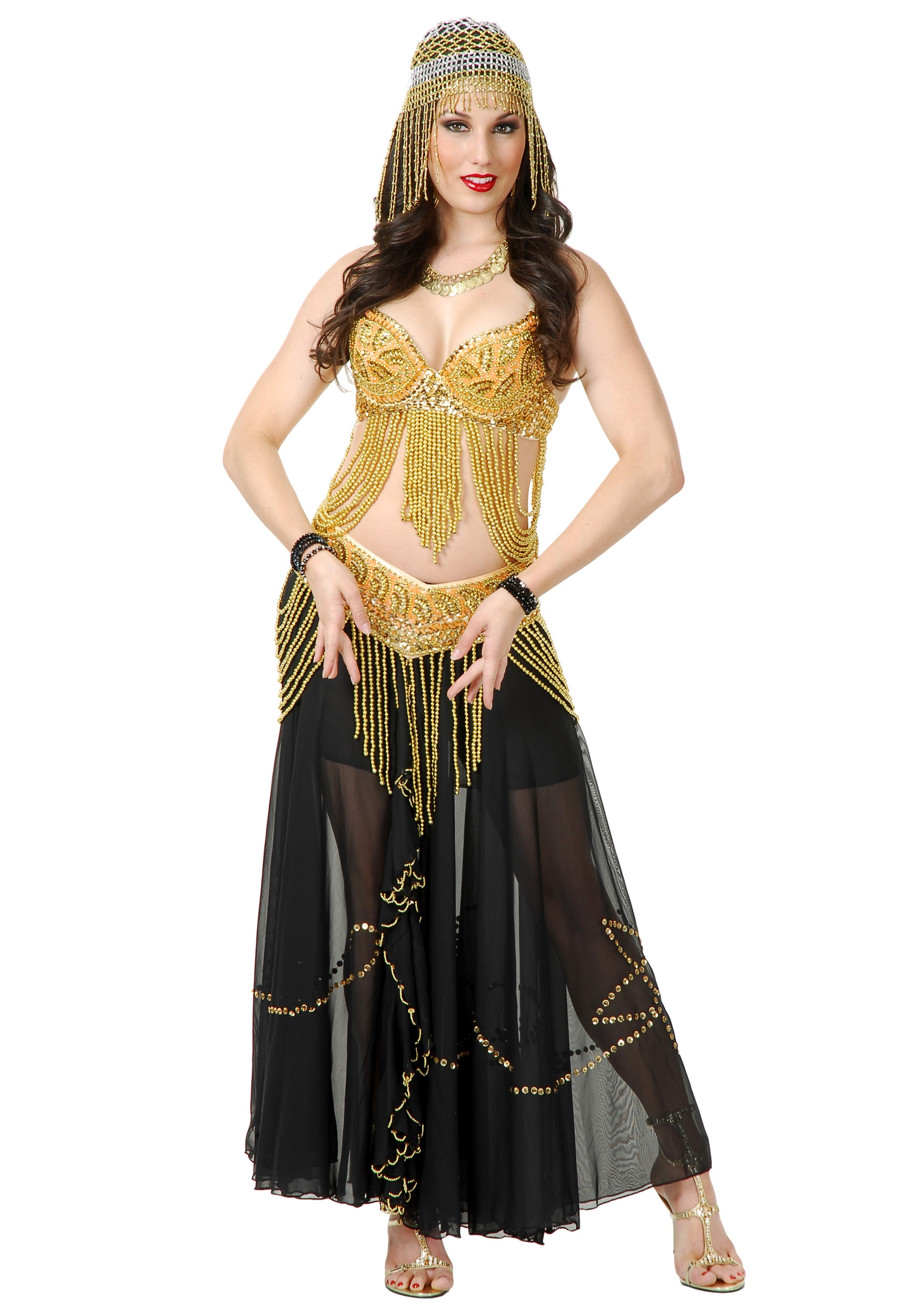 sexy golden belly dancer costume - sexy arabian belly dancer costumes