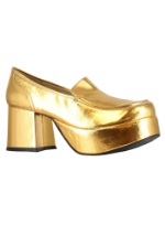 Mens Gold Disco Daddio Pimp Shoes