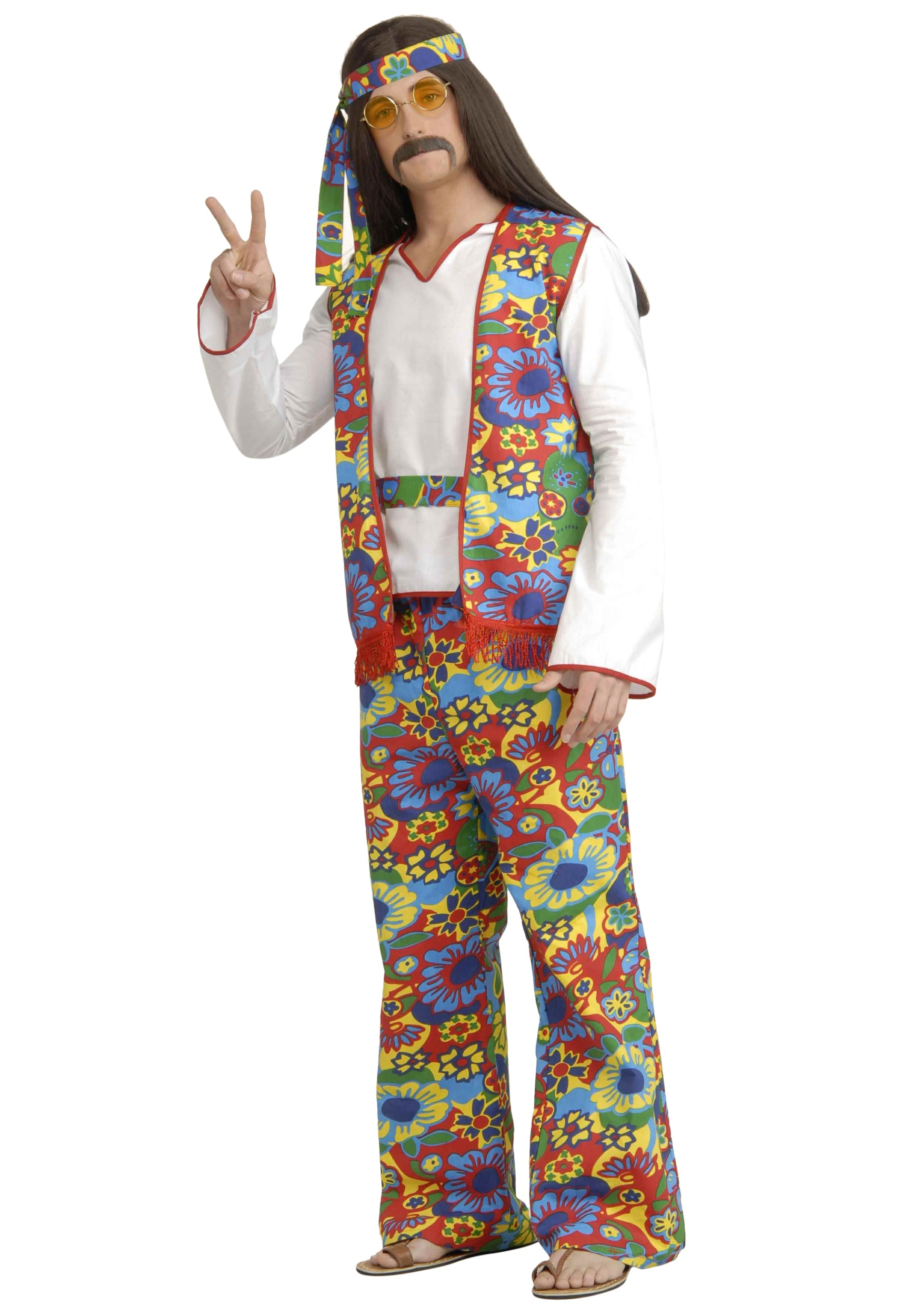 Plus Size Mens 60s Hippie Costume - 1960s Halloween ...