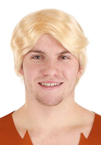 The bleach blonde men's wig, with a soft wavy style and natural shiny