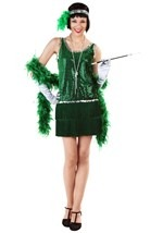 Green Sequin & Fringe Flapper Dress