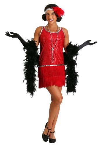 Red Flapper Sequin & Fringe Costume