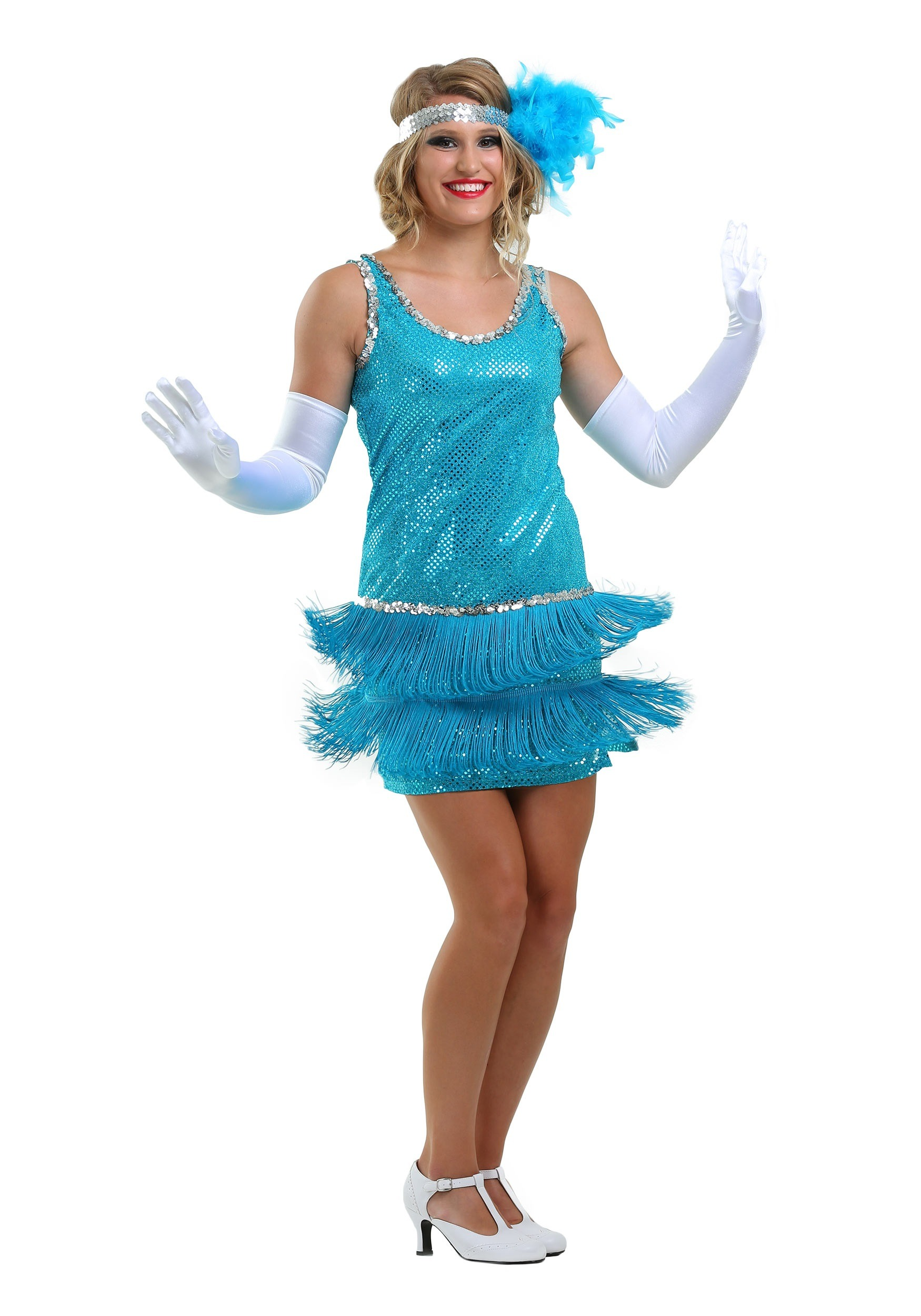 Adult Turquoise Flapper Dress - 1920\'s Flapper Costumes