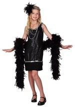 Girls Black Sequin Flapper Costume