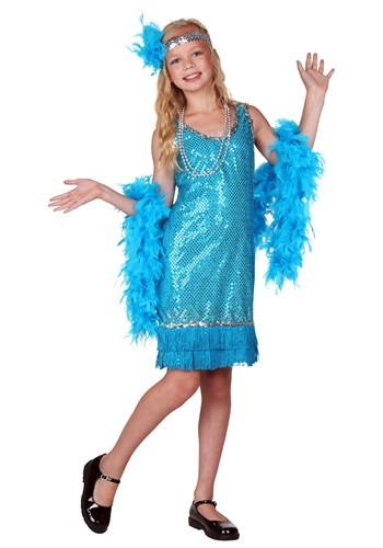 Girls Turquoise Sequin Flapper Costume