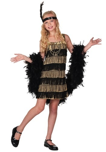 Girls Gold and Black Fringe Flapper Costume
