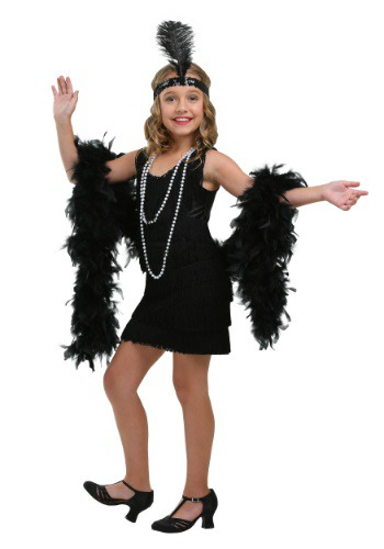 Girls Black Fringe Flapper Costume