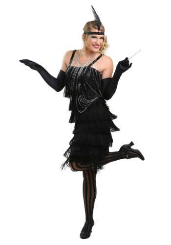 Black Charleston Flapper Girl Dress