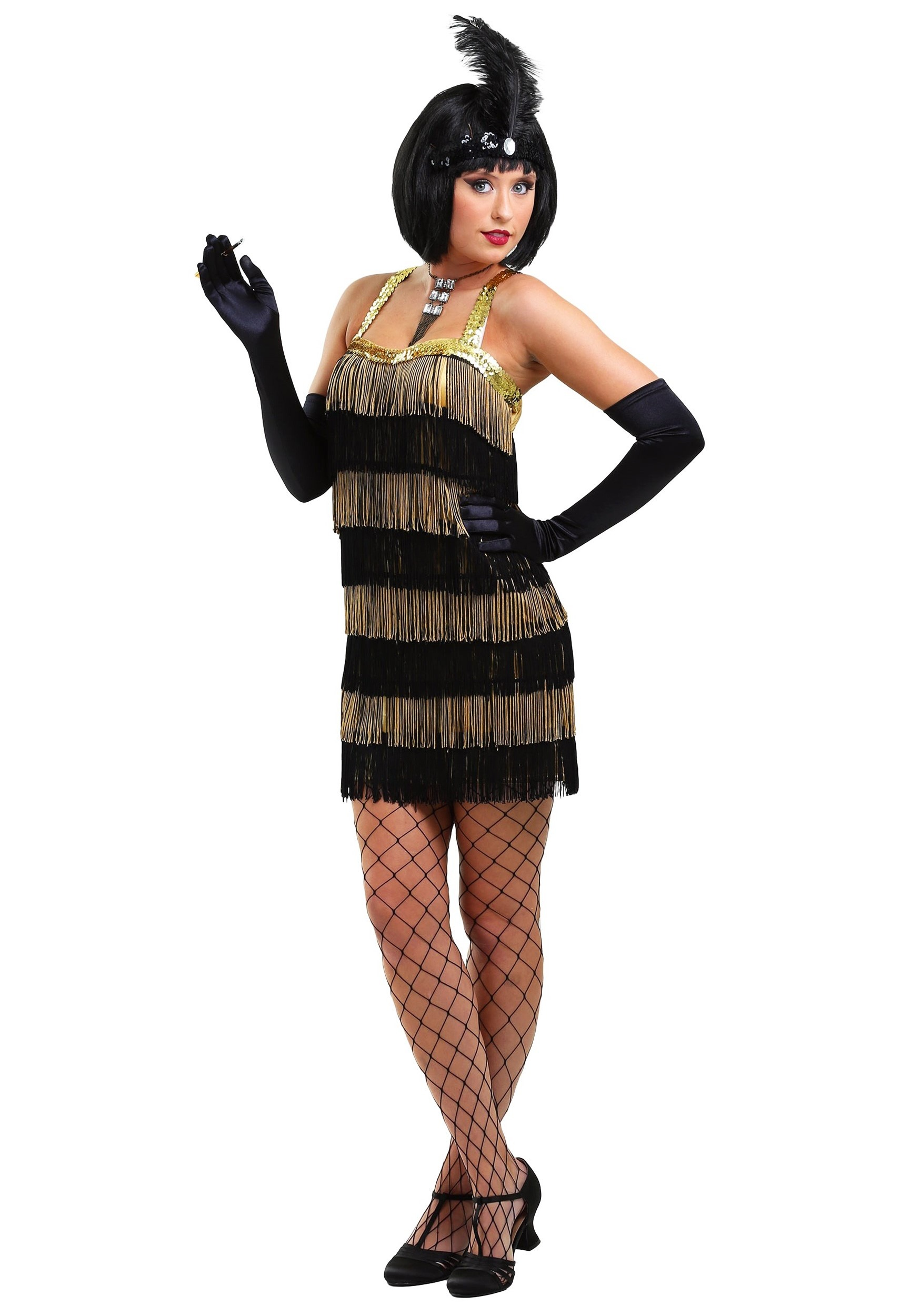 Black u0026 Gold Fringe Flapper Dress  sc 1 st  Halloween Costume Ideas : luigi costume accessories  - Germanpascual.Com
