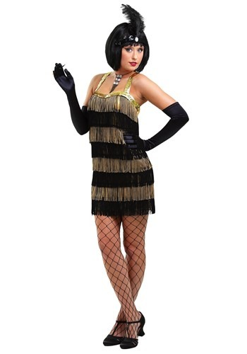 Black & Gold Fringe Flapper Dress