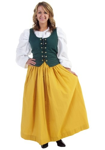 Long Gold Peasant Skirt