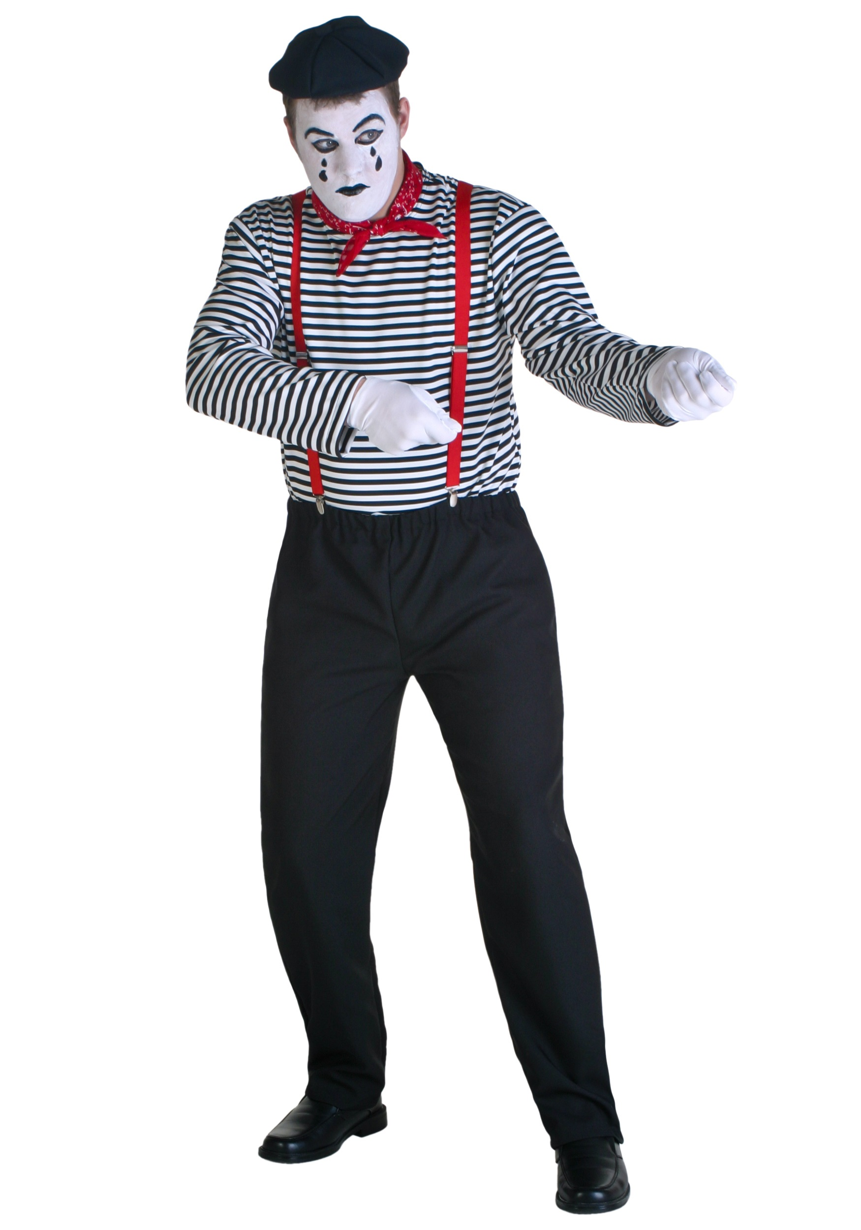 Paris Mime Costume - Mens Classic French Mime Costume