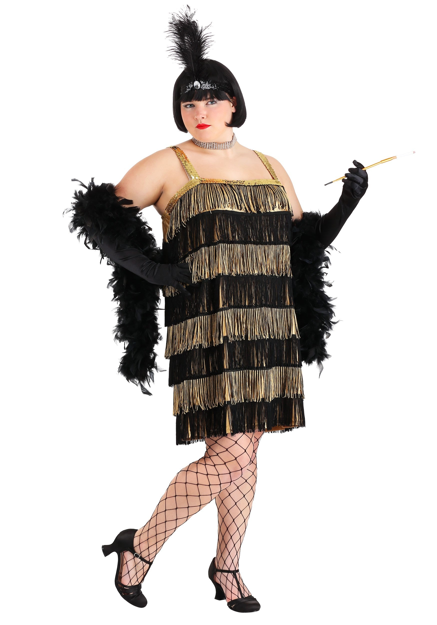 Plus Size Gold & Black Flapper Dress - Plus Size 1920s Flapper Costumes
