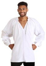 White Plus Size Peasant Shirt