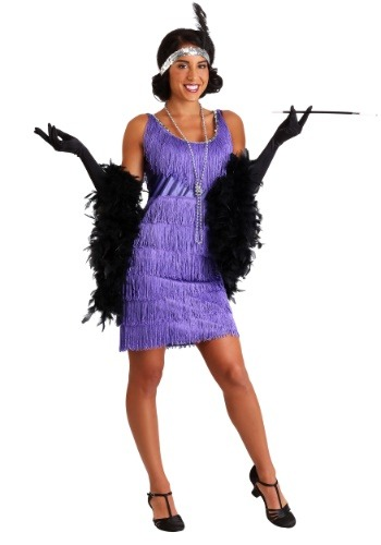 Purple Plus Size Fringe Flapper Costume Womens 1920s Halloween