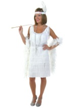 Plus Size White Flapper Costume