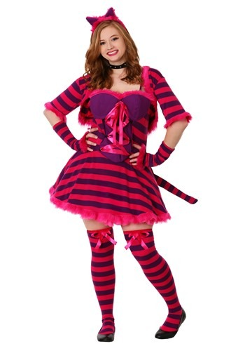 Plus Size Sexy Striped Wonderland Cat Costume