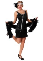 Sequin & Fringe Black Plus Size Flapper Costume