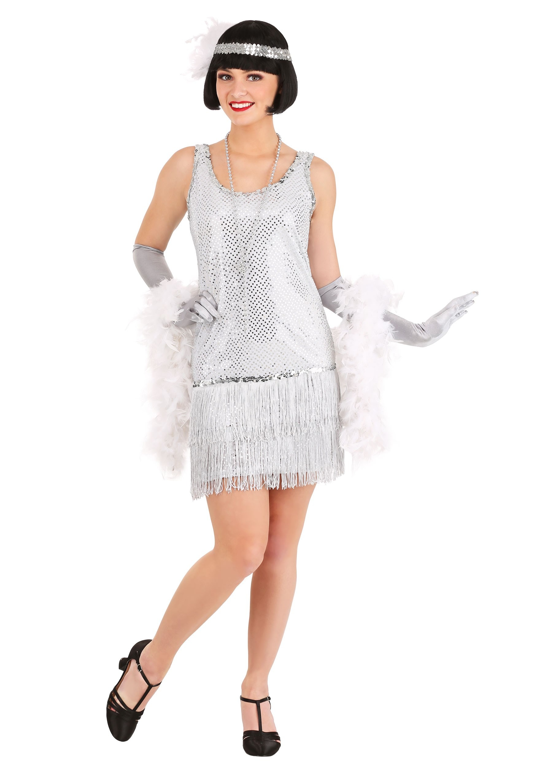 Sequined Silver Plus Size Flapper Costume - Womens Flapper Halloween ...