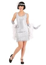 Sequined Silver Plus Size Flapper Costume