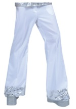 White Sequin Cuff Teen Disco Pants
