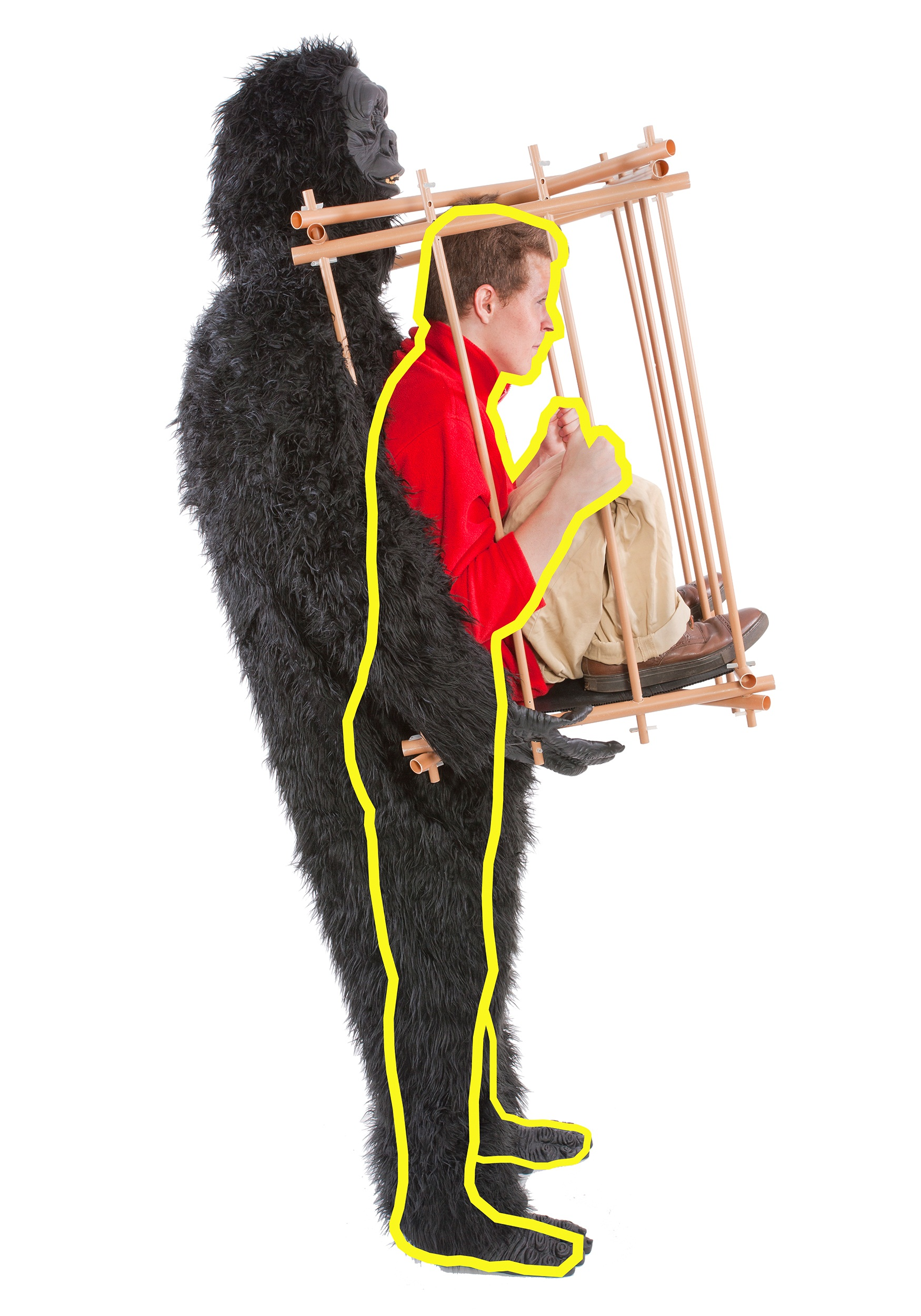 man in cage gorilla costume