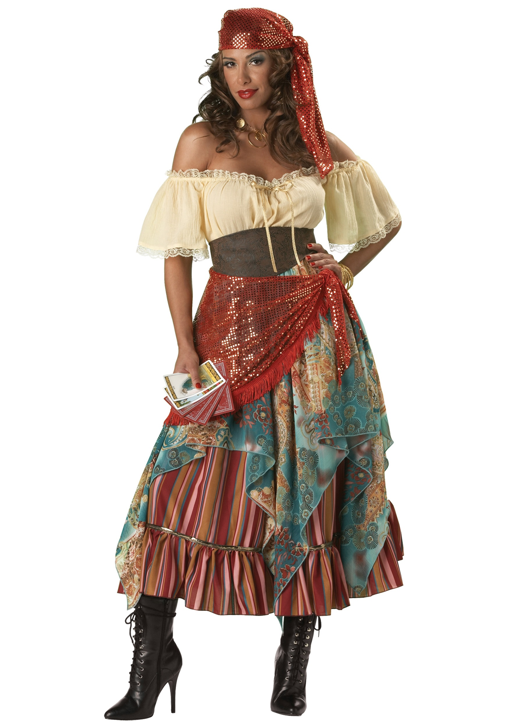 Womens Deluxe Fortune Teller Costume  sc 1 st  Halloween Costume Ideas : victorian clown costume  - Germanpascual.Com