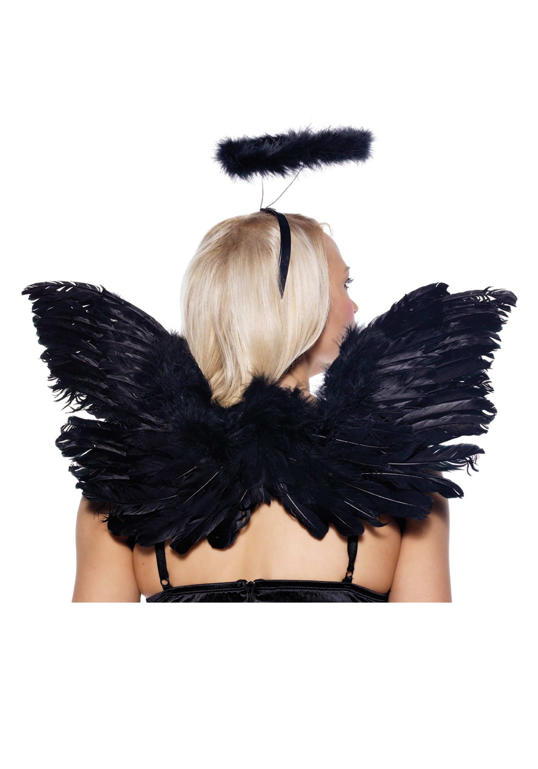 Black Angel Wings and Halo - Fallen Angel Costumes