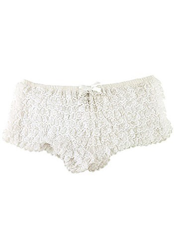 White Ruffle Hot Pants