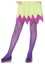 Girls Purple Neon Fishnet Tights