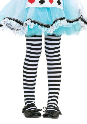 Child Black and White Striped Tights
