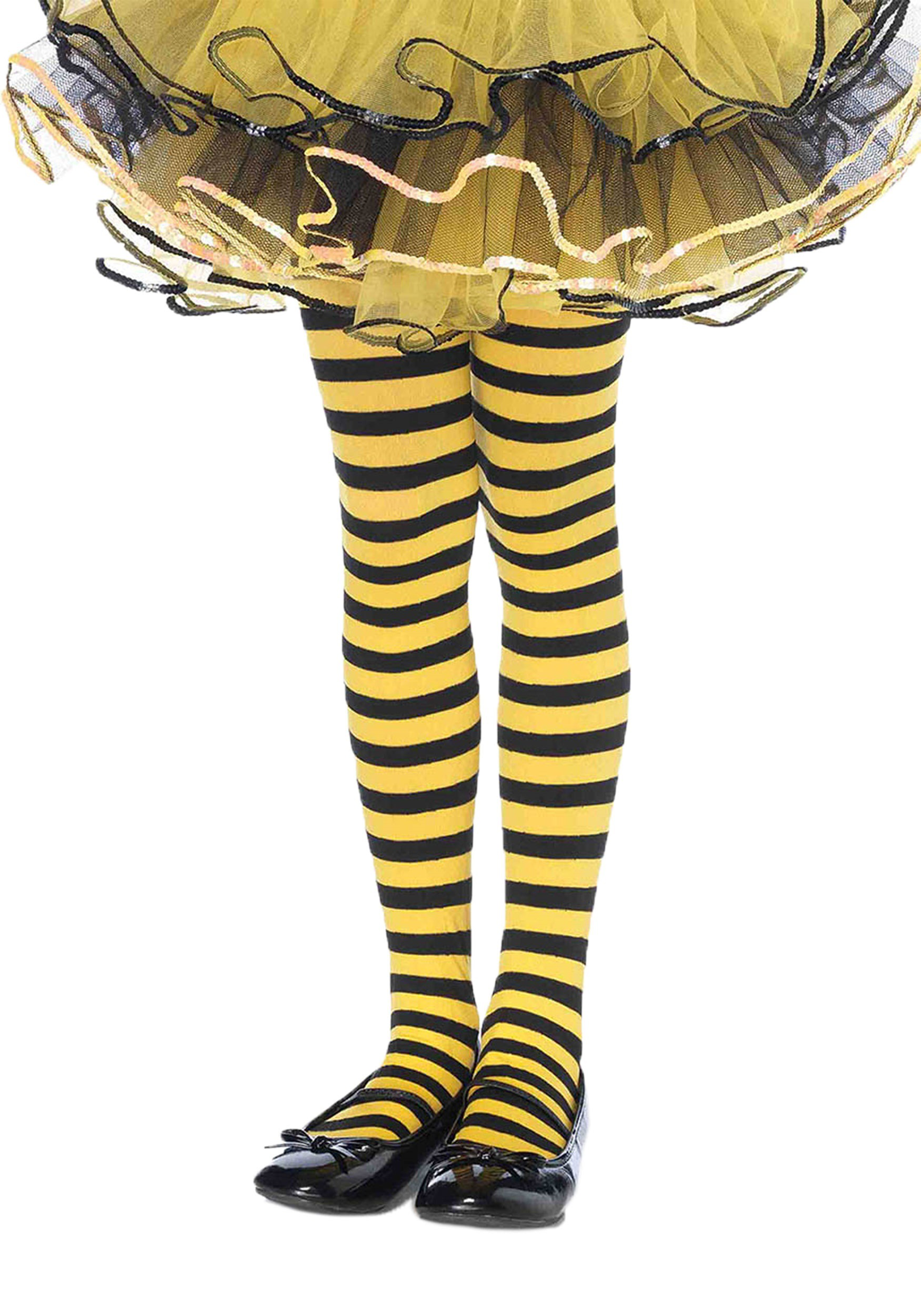 girls yellow and black tights - bee accessories for halloween