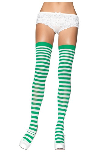 Green and White Striped Stockings