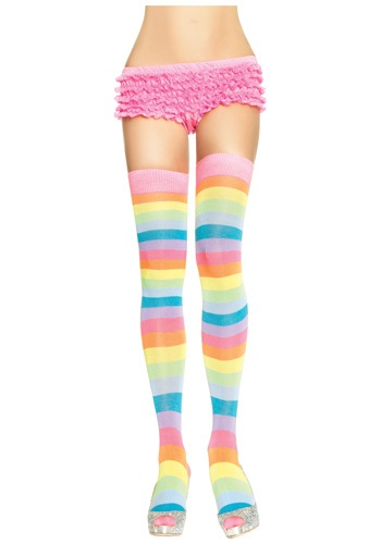 Neon Rainbow Thigh High Stockings