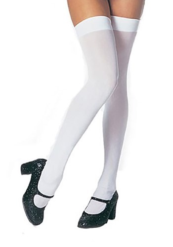 Plus Size White Thigh High Stockings