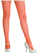 Womens Neon Orange Fishnet Tights