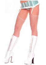 Thigh High White Fishnet Stockings